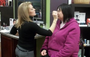 Makeup Application at Edge Hair Design's Girl's Night Out with iShopStark.com