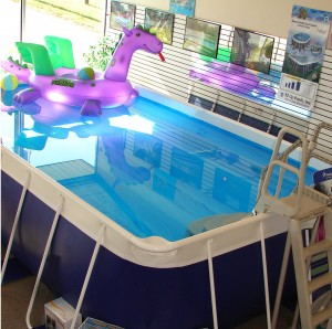 A Softside above ground pool in an Ohio Pools & Spas showroom perfect for backyard family fun