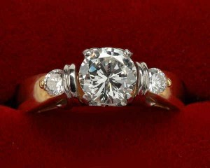 18k yellow gold platinum diamond engagement ring