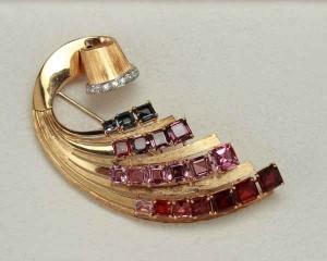 1940s tourmaline and diamond pin