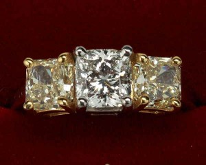 yellow and white diamond princess cut ring